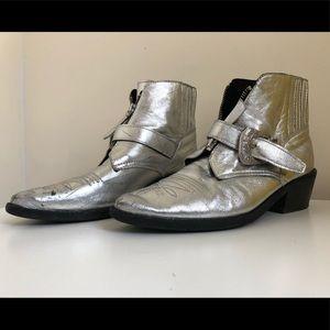 Metallic silver cowboy booties